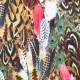 Jersey Cotton Fabric Digital Print - Feathers Brown